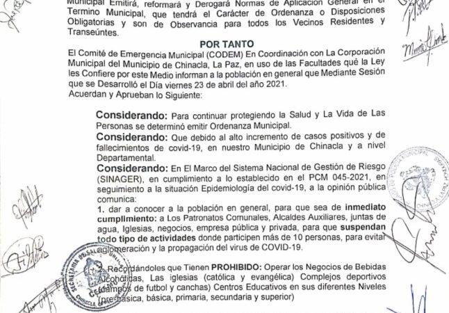 ALERTA ROJA  EN CHINACLA, LA PAZ SE EXTIENDE ORDENANZA MUNICIPAL.